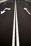 Road markings  on the asphalt road in the city Royalty Free Stock Photography