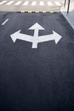 Road markings  on the asphalt road in the city Royalty Free Stock Photo