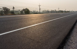 Road markings on asphalt. In thailand Royalty Free Stock Photo