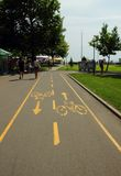 The road markings for cycling,Burgas, Bulgaria, July 24, 2014. The road markings for cycling Stock Image
