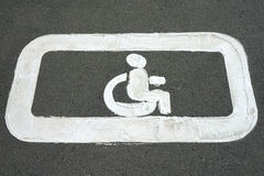 Road markings. For the disabled. Sign for disabled parking Stock Photo