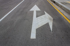 Road markings with footpath Stock Photos