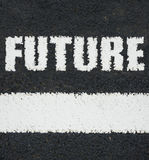 Road Markings Future. Conceptual Image Of White Road Markings With The Word Future Royalty Free Stock Image