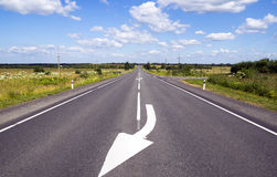Road markings on good straight road Stock Image