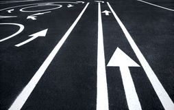Road markings signs. Photography of road markings and traffic symbol on surface road stock images