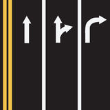 Road markings in three lines Royalty Free Stock Photo