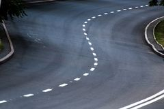 Road with markings. A winding road with markings Stock Photos