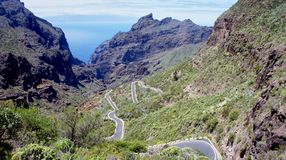The road from Masca. View from Masca, looking out over the Island of La Gomera, Canary Islands Stock Photography