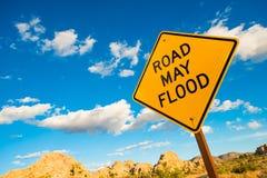 Road May Flood Warning Sign Royalty Free Stock Photos