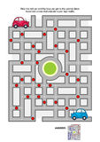 Road maze with red and blue cars Stock Photos