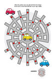 Road maze with taxi car. Road maze game: Help the yellow taxi car get out from the maze. Avoid red circles that indicate super high traffic. Answers included Stock Photography