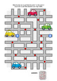 Road maze with taxi car. Road maze game: Help the yellow taxi car to get from the point 1 to the point 2. Avoid red circles that indicate super high traffic Royalty Free Stock Photos