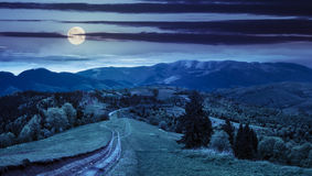Road through the meadow on hillside at night royalty free stock photography
