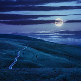Road through a meadow on the hillside at night Royalty Free Stock Photo