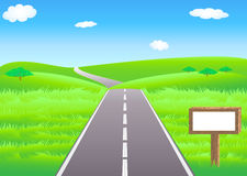 Road and meadows. Vector summer landscape with a road and a wooden placard Royalty Free Stock Photography
