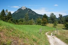 Road in meadows under mountain Stock Images