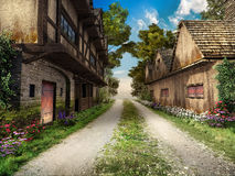 Road through medieval village Stock Image