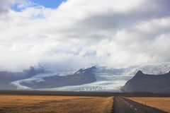 Road meets Vatnajokull glacier Royalty Free Stock Photo