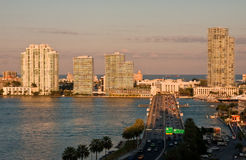 Road Into Miami at Dusk Royalty Free Stock Photography