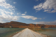 The road in the middle of the Dead sea Stock Photos