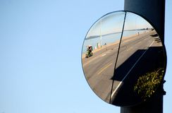 Road mirror on Alki Bach Drive Royalty Free Stock Photo