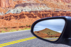 Road in a mirror, Capitol Reef National Park. Royalty Free Stock Photo