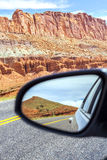 Road in a mirror, Capitol Reef National Park. Stock Image