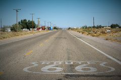 Road 66 in the Mojave Desert, California, USA, with a vignetting effect and vintage tone Royalty Free Stock Photography