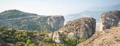 The road in monastery and rocks. Meteora, Kalambaka in Greece Stock Image