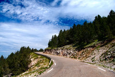 Road on the Mont-Ventoux. Road climbing up to the Mont-Ventoux Stock Image