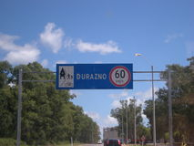 Road from Montevideo to Paso de los Toros. Travelling in the road from Montevideo to Paso de los Toros, Tacuarembo. Summer time. Arriving on the city of Durazno Stock Image