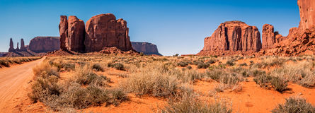 On the road through Monument  Valley Stock Photography