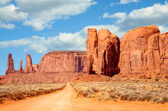 On the road through Monument Valley Panorama Stock Photo