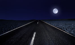 Road and The Moon Royalty Free Stock Photos