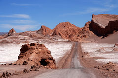 Road through the Moon Valley. Road through the famous Valle the la Luna near San Pedro de Atacama in Chile Royalty Free Stock Photography