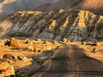 Road on the moon. The road in Zanskar Valley royalty free stock images