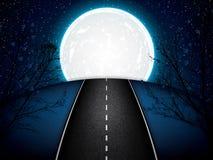 Road in the moonlight stock illustration