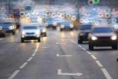 Road with motion vehicles. City road with motion vehicles Royalty Free Stock Images