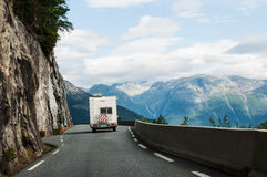 Road with  motor home in mountains Royalty Free Stock Photography