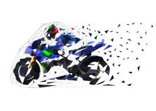 Free Road Motorcycle Racing, Low Polygonal Vector Illustration. Side View Motorbike Stock Images - 153394234