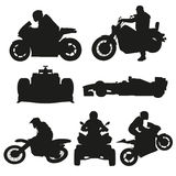 Road motorcycles, motocross and racing cars. Set of vector silhouettes Royalty Free Stock Photos