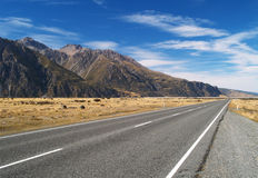 Road from Mount Cook village Royalty Free Stock Photos