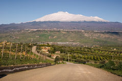 Road for mount Etna. Road crosses cultivated land and in the background the mount Etna cover by snow against the blue sky stock photo