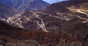 Road in the mountain. The mountain is separate by the road. it is in Tibet of China.height above sea level is over 3,000 m Royalty Free Stock Photos
