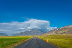 road and mountain landscape at Iceland, summer time Royalty Free Stock Photo