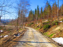 Road. Mountain road near the ski center in the photo is captured during spring stock photo