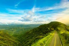 Road on the mountain peak stock photography