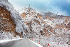 Road in mountain after snow Royalty Free Stock Images