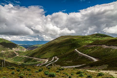 Road upon the mountain under blue sky. In Tibet Royalty Free Stock Photography