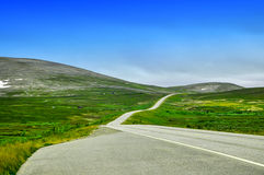 Road in the mountain valley. Norway. A long winding asphalt road without cars in the mountain valley and hills. Blue sky and bright green grass complete the Royalty Free Stock Photography